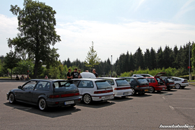 Rear View of a Group of Honda Civic EF9 and CRX EF8 at the EE-Meeting