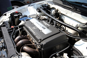 Turbo B16A Engine in a white Honda Civic EF9 at the EE-Meeting