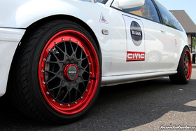 Grey and Red BBS Wheel on a white Honda Civic EE9 at the EE-Meeting