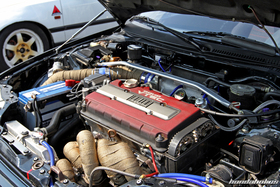 Turbo Engine in a black Honda Civic EF9 at the EE-Meeting