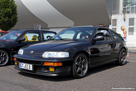 Black Honda CRX EF8 with 16 Inch Wheels at the EE-Meeting