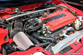 Naturally Aspirated Engine in a red Honda Civic EF9 at the EE-Meeting