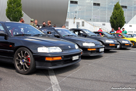 Front View of four black Honda CRX EF8 at the EE-Meeting