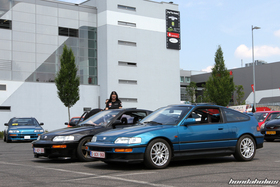 Blue and Black Honda CRX EF8 at the EE-Meeting