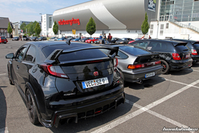 Rear View of two Civic Type R and a CRX at the EE-Meeting