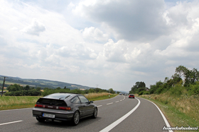 Grey Honda CRX EF8 on the ride at the EE-Meeting