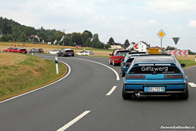 A group of Honda Civic EF9 and CRX EF8 on the roads of the Eifel