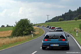 Celestial Blue CRX EF8 and other Hondas on the ride