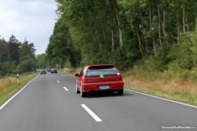Red Honda Civic EF9 Turbo accelerates in the Eifel
