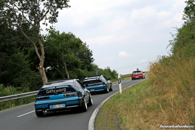 Two Celestial Blue CRX EF8 following each other on a country road