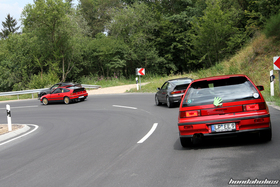 Two Honda CRX EF8 and a Civic EF9 drive through the serpentines