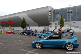 Side view of a Celestial Blue CRX EF8 on the Nurburgring car park