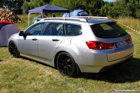 Rear view of a silver Acura TSX Sport Wagon CW2